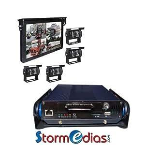 KIT CAMÉRA DE RECUL 15 POUCES 12-36V CF + USB + RCA + SUPPORT + 4 CAMERAS + DVR