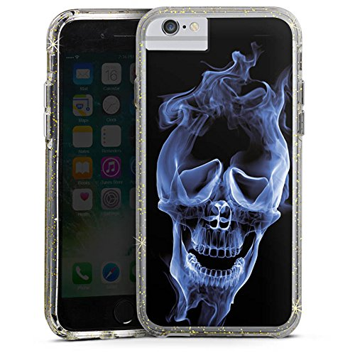 Apple iPhone 8 Bumper Hülle Bumper Case Glitzer Hülle Halloween Skull Smoke Bumper Case Glitzer gold