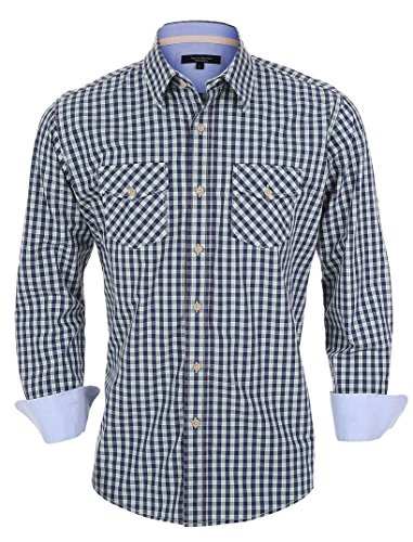 year-in-year-out-mens-premium-quality-long-sleeve-regular-fit-gingham-checked-shirt-with-double-pock
