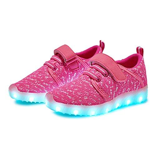 Usb Mesh Sneakers Kinder Leuchtend amp;n Leichtbau Brillant Aufladen Für Led Unisex Sport Stil Rosa O Schuhe qtS8A