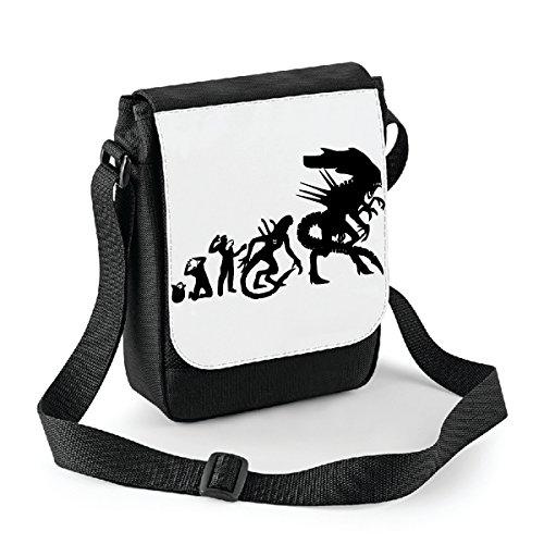 Mini borsa a tracolla Alien evolution - humor Bianco