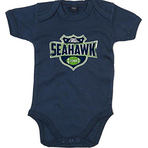 True Seahawk Premium Babybody American Football Super Bowl NFL Mädchen und Jungen Kurzarmbody, Farbe:Blau (Nautical Navy BZ10);Größe:12-18 Monate