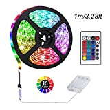 ACONDE 3.28 feet Battery Powered LED Strip Lights, DIY Indoor Decoration, 24 Keys Remote