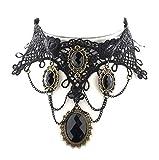 Viktorianisches Spitzen-Halsband schwarz mit Steinen -Retro/Gothic/Belle Epoque)