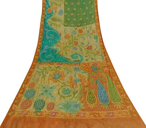 Vintage Indian Art Silk Mehrfarben Saree Woven Gebrauchte Sari Craft Fabric 5 Yds - Art Silk Sari Saree