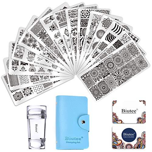Biutee Set di Nail Art Stamping 15pcs Nail Template Piastra per Unghie+ 1pcs Raschietto+1pcs Stamper Per manicure (1 Busta per Conservarli)