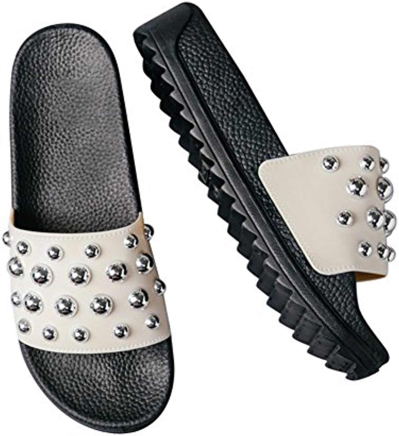 Chancletas Zapatillas Sandalia Remache Impermeable Star Beads Versión Coreana Muffin Bottom Moda Pendiente (3...