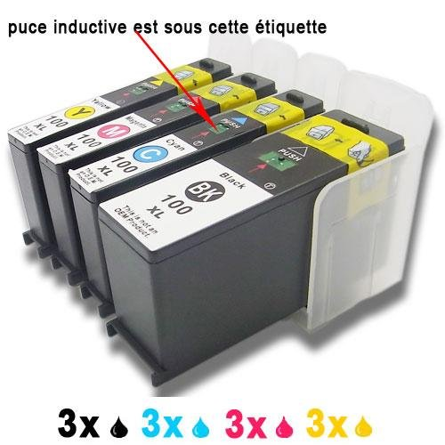 12 (3xBlack,3xCyan,3xMagenta,3xYellow) ink cartridges replace to Lexmark 100 100XL 108XL Compatible with S301 S305 S405 S505 S605 S308 S408 S508 S608 S815 S816 Pro205 Pro705 Pro805 Pro905 Pro208 Pro708 Pro808 Pro908 Pro901