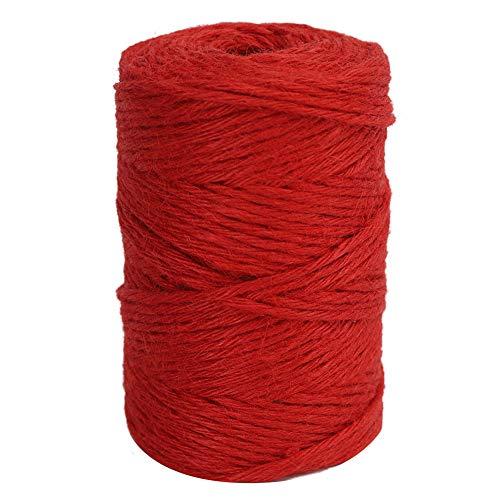 Viviving - Cuerda de Yute para jardín, Regalos, Manualidades, Color Rojo, 3 mm