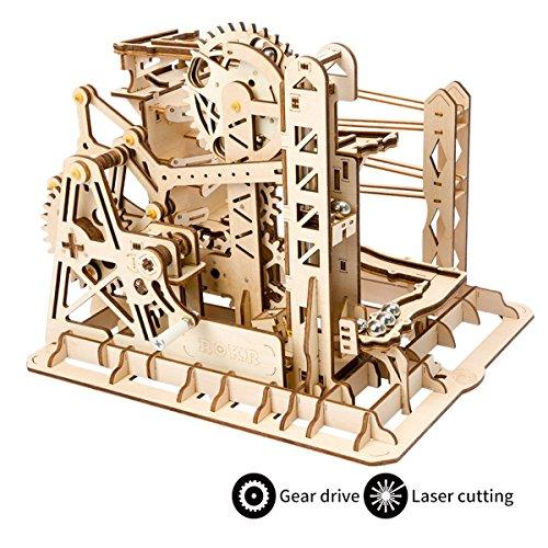 ROKR hölzerne mechanische 3D Puzzle mechanische Modell mit Balls Brainteaser für Kinder, Jugendliche und Erwachsene (Lift Coaster)