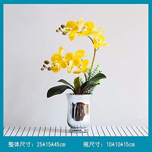 RXTRAIL Phalaenopsis Hohe Qualität Dekoration Künstliche Orchidee P Gefälschte Blume Zuhause Wohnzimmer Kunststoff Glas Vase Gelb 25 * 45 cm