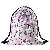HENGSONG Borsa zaino unicorno Barba Shopping/Viaggio Studente Borsa A Tracolla Backpack Zaino Rosa