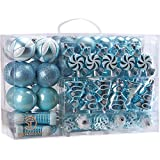Sea Team 73-pack assortiti infrangibili palle di Natale di Natale ornamenti set palline decorative pendente con riutilizzabile hand-held pacchetto regalo per albero di Natale