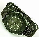 Mode Sport Stil Militaer- Armee Pilot Stoff Band Mann Armbanduhr Uhr Outdoor Nylon Armband Grüne