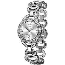 Time100 W50377L.01A Fashion Reloj pulsera de joya para mujer, estilo sencillo con diamante correa de color plateado material de acero