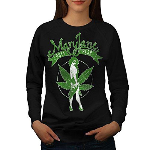 Wellcoda Cannabis Bouffée Passer Marie Femme Sweat-Shirt Maria Pull Occasionnel Pull