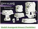 43 TLG LUXUS GESCHIRR TAFEL SERVICE KAFFEESET KOMBISERVICE PORZELLAN 6 PERSONEN! (Modell: Avantgarde Schwarz)
