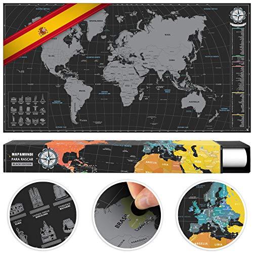 #benehacks Mapa del Mundo en ESPAÑOL Tipo póster para rascar SIGA Sus Aventuras de Viaje en un Mapa detallado del Mundo - Mapamundi Plata/Negro - 84 x 44 cm