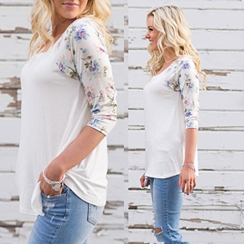 FNKDOR Mme grands chantiers dimpression T-shirt à manches longues Blanc