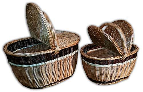 Alpenfell Picknickkorb Duo aus Weide, Weidenkorb Bügelkorb Pilzkorb, Gross mit Griff, Handarbeit, sehr stabil - 44 x 28 x 25cm oder 34 x 27 x 21cm (Groß) (Große Weidenkorb Mit Griff)