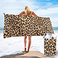 popluck Leopard Print Microfiber Quick Dry Super Soft Ultra Light Travel Portable Towel for Travel Beach Camping Gym Swimming Sporting