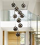 CBJKTX Pendelleuchte esstisch Pendellampe Höheverstellbar Kronleuchter Hängeleuchte 10-Flammig aus Glas drehbar-Treppenleuchte Wohnzimmerlampe Schlafzimmerlampe Flurlampe (Rauchgrau, 10-Flammig)