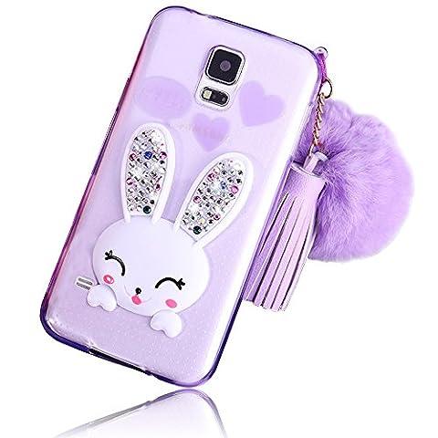 Sunroyal Lovely Ultra Thin Faltbare Cartoon Funny Smile Bunny Glitzer Bling Diamant Rabbit Ear Schutzhülle Transparent Bumper Zurück Zubehör Set Silikon Gel Hülle Rückseite für Samsung Galaxy S5 S5 Neo i9600 GT-I9600 Samsung Galaxy S5 (SM-G900F) - S5 Neo (SM-G903F) mit Standfunktion Schale Handy Tasche Case , Lila Purple Muster Design Hülle Handy Cover Etui