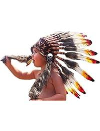 N11- De 2-5 años Niño / Niño: 3 colores Indian Headdress 20,5 inch. - 52 cm