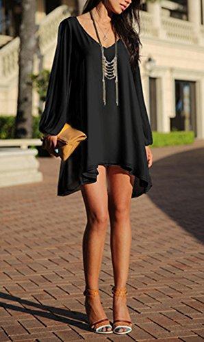Monissy Femmes Robe Manches Chauve-Souris A Manches Longues Mini-V-Cou Ourlet Irreguliere Occasionnel Robe De Mousseline Lache Noir