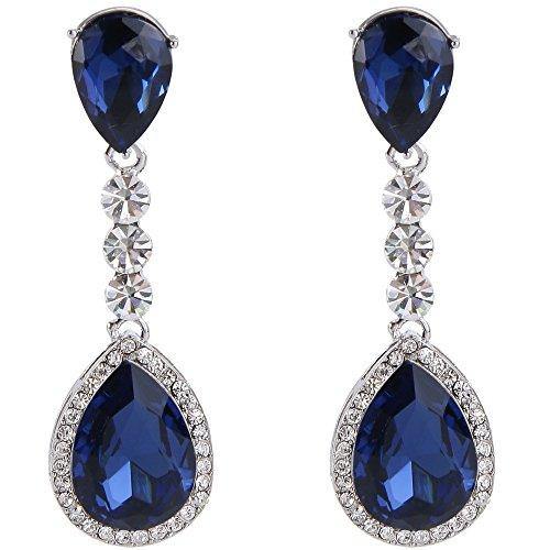 Clearine Damen Modern Hochzeit Braut Kristall Tropfen Romantik Dangle Statement Ohrringe Silber-Ton Dark Blau