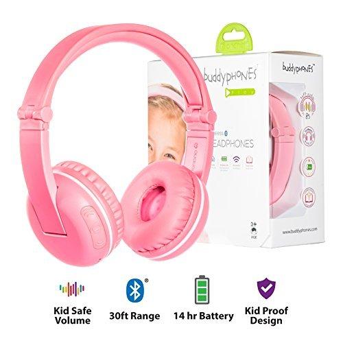 Kabellose Bluetooth Kopfhörer für Kinder - BuddyPhones Play | Verstellbare Lautstärkebegrenzung zu 75, 85, 94 dB | Faltbar mit 14h Batterielaufzeit | Optionales Kabel zum Mithören | Rosa (Kinder-kopfhörer Für Amazon Kindle Fire)