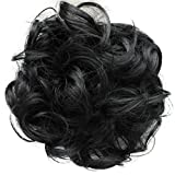 PRETTYSHOP parrucchino Voluminoso Pezzo capelli capelli di gomma scrunchie ricci Updo Bun nero # 1 G1E