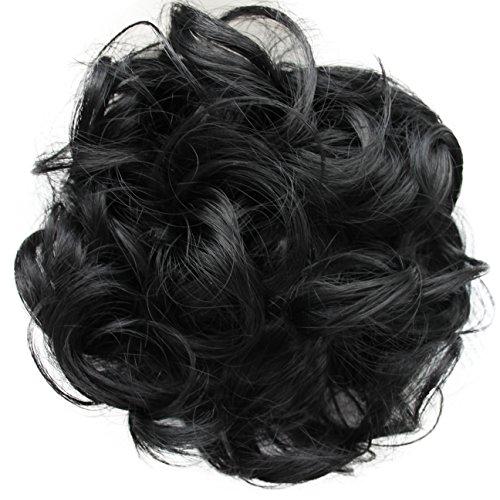 PRETTYSHOP Haarteil Haargummi Hochsteckfrisuren, Brautfrisuren, VOLUMINÖS, gelockter unordentlicher Dutt, schwarz #1 G1E