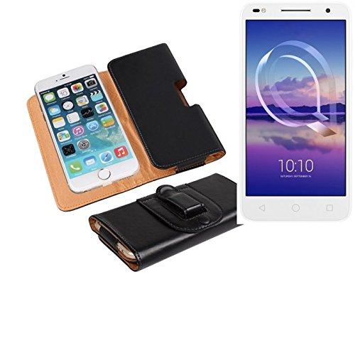 K-S-Trade Für Alcatel U5 HD Dual SIM Gürteltasche Gürtel Tasche Schutzhülle Handy Tasche Schutz Hülle Smartphone Case Handytasche Seitentasche Quertasche Belt Bag Etui schwarz für Alcatel U5