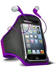 Fone-Case HTC One M7 verstellbaren Sport Fitness Jogging Arm Band Hülle & 3,5 mm In-Ear-Ohrhörer Basis Kopfhörer (Lila)