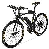 Extrbici Vélo de Ville électrique RS600 700C 240W 36V 15A Bicyclette Homme en Alliage d'Aluminium Shimano TZ-21 Vitesses avec Suspension de la Fourchette, Couleur Gris Cyrusher