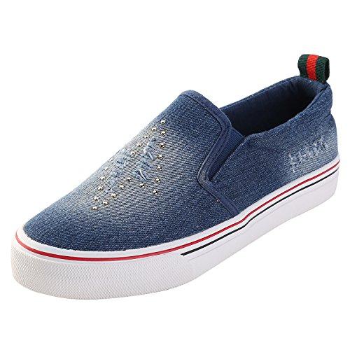 Alexis Leroy Chambray Slipper Sneaker Damen Stoffschuhe Blau