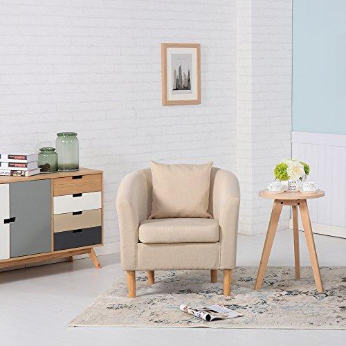 Sessel aus Leinenstoff, für Esszimmer, Wohnzimmer, Büro oder Empfang Modern 73W x 65D x 72H cm cremefarben