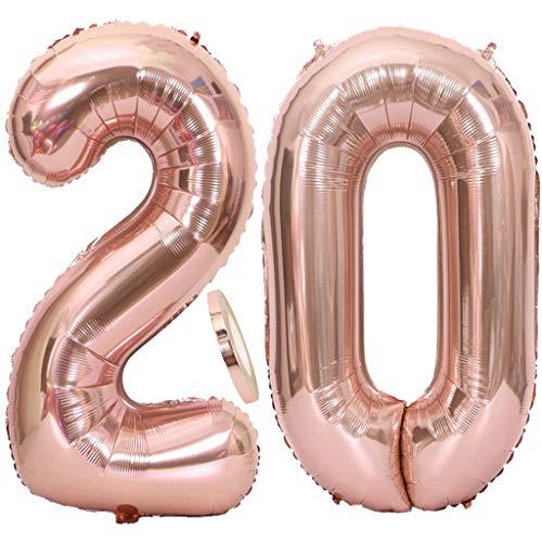 """Feelairy 2 Numero di Palloncini 20 XXL Oro Rosa, Palloncino Foil Gigante Numero 20 con Nastro, Numerici Palloncino Gonfiabile 40 \"""" Elio per Decorazione Festa di Compleanno"""