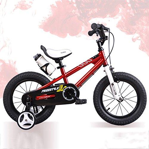Bicycle LVZAIXI ROYAL Baby Free Style Space KINDERBIKE MIT Heavy Duty STABILISATOREN + Bell + WASSERFLASCHE UND Halter (Farbe : Rot, größe : 16Inch)