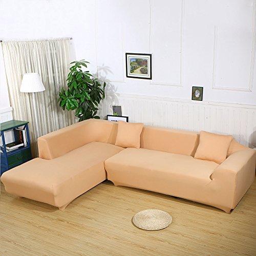 Sofa Überwürfe Sofabezug stretch elastische Sofahusse Sofa Abdeckung in verschiedene Größe und Farbe (3 Sitzer für Sofalänge 185-230cm, Khaki)