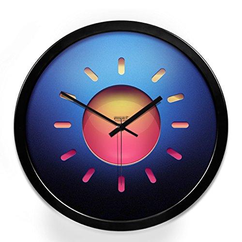 Pocket watch Metall Persönlichkeit kreisförmige Wanduhr Schlafzimmer Schlafzimmer stumm Uhr (Color : Black, Size : 12in)