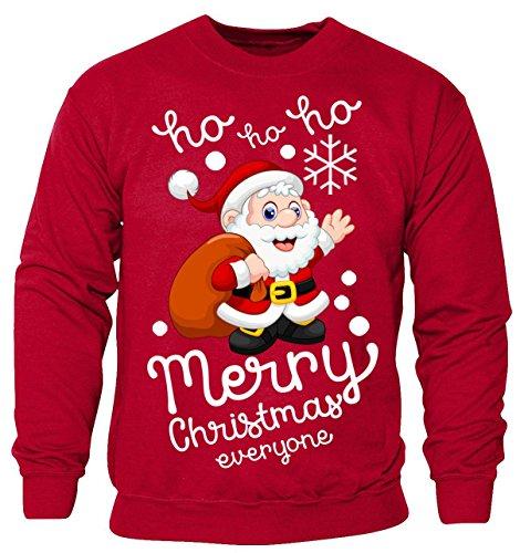 Custom World New Kids Boys Girls Merry Christmas Santa Ho Ho Ho Sweatshirt Xmas Top Child's Jumper (Kids 7-8 Years) Red