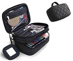 Idea Regalo - Trousse Make Up, Borsa Cosmetica, ONEGenug Borsa Make Up 20 * 12 * 8 cm Doppio Strato con Specchio per le Donne Nero