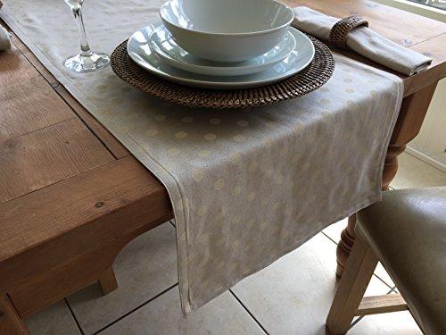 The Tablecloth Company-Chemin de table réversible en lin et coton, crème et à pois, revers uni, 6 personnes