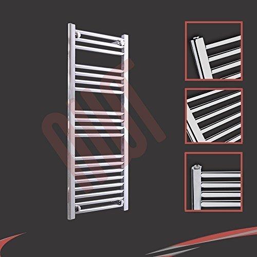 400mm (w) x 1000mm (h) - Radiateur sèche-serviettes plat chromé Barre Horizontale Diamètre: 22mm, Bar Modèle: 3 + 4 + 4 + 8