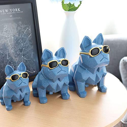 DishyKooker Maison Lunettes Chien Tirelire Boîte Résine Chien Figurine Argent Organisateur Bleu Petite Taille: 14X9.5X15cm