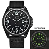 Herrenuhren,Gaddrt Militär Herren Quarz Army Watch schwarzes Zifferblatt Datum Luxus Sport Armbanduhr (A)