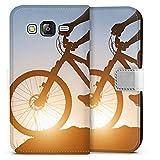 DeinDesign Samsung Galaxy J5 (2015) Tasche Leder Flip Case Hülle Mountainbike Fahrrad Biker