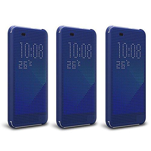 Defender Premium Best DOT VIEW Bumper Touch Flip Case Cover with Sensor For HTC Desire 620 / 620G - Blue